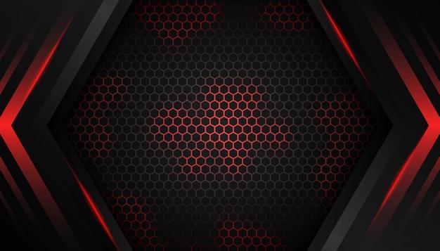 暗い背景に抽象的な六角形の赤い光。 Premiumベクター
