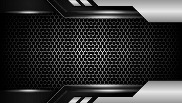 暗い六角形の豪華な背景に抽象的なシルバーライト Premiumベクター