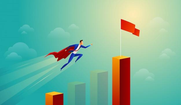 赤いジャンプバーグラフのスーパービジネスマン Premiumベクター