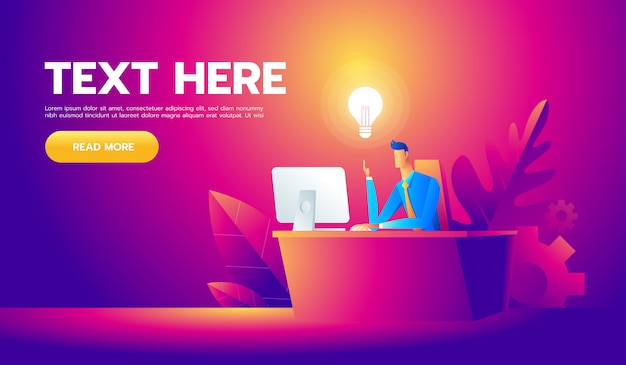 彼の机で働いて、たくさんのアイデア電球を作成する幸せなビジネスマン Premiumベクター