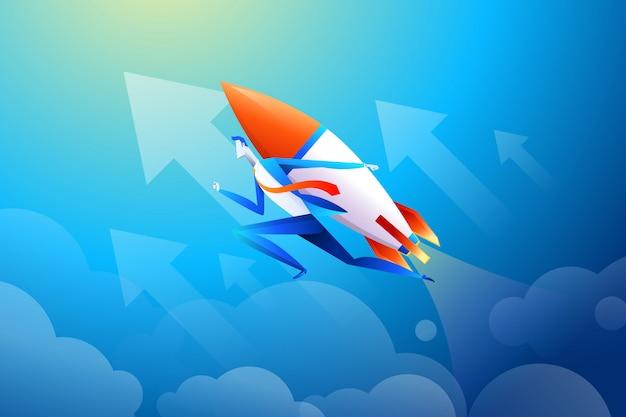 Бизнесмен летит на ракете, график, который показывает увеличение продаж в квартире Premium векторы