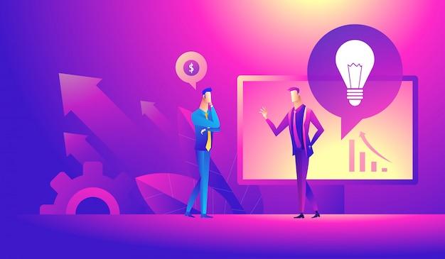 Бизнес идея, партнеры вместе Premium векторы