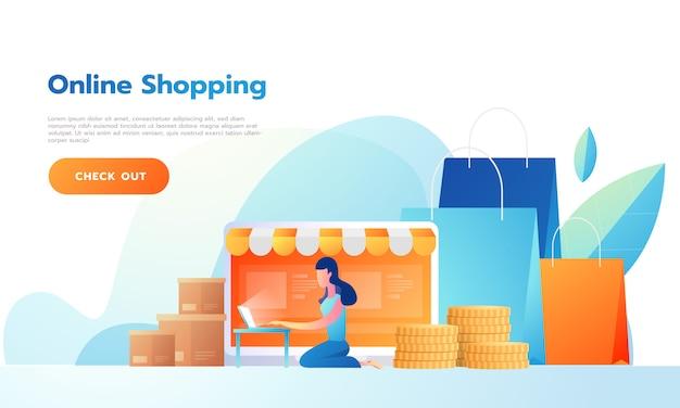着陸ページ幸せな女性がオンラインで商品を販売する、またはオンラインで買い物をする。ベクトルイラスト人と交流する Premiumベクター