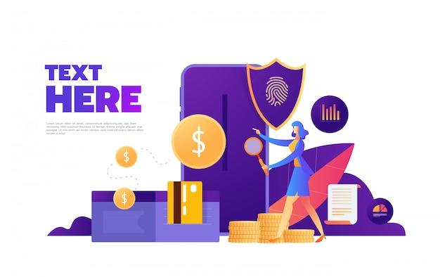 指紋アクセスパスワード、携帯電話を持つ女性、指紋個人データガード等尺性紫外線背景、 Premiumベクター