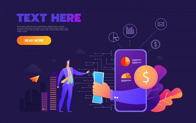 紫色の背景にビジネスモバイルアプリケーション等尺性イラスト Premiumベクター