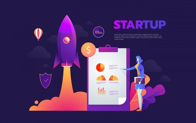 スタートアップ起動プロセス等尺性インフォグラフィックテクノロジーオンライン、ビジネスコンセプト Premiumベクター