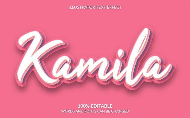 Редактируемый текстовый эффект, симпатичный розовый текстовый стиль Premium векторы