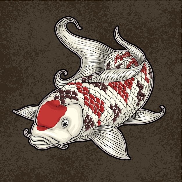 Кои япония декоративная рыба иллюстрация Premium векторы