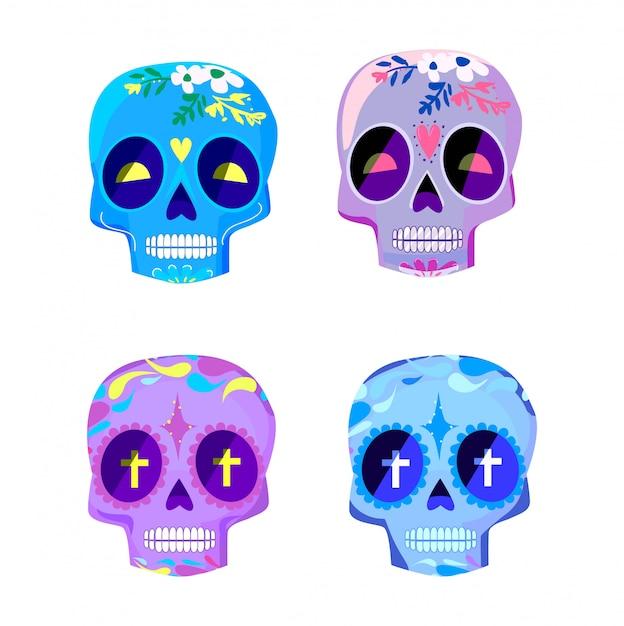Декоративные красочные черепа установить день мертвых векторные иллюстрации. мексиканская диа-де-лос-муэртос. Premium векторы