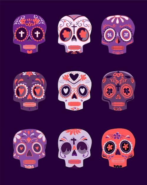 Декоративные разноцветные черепа устанавливают день мертвых Premium векторы
