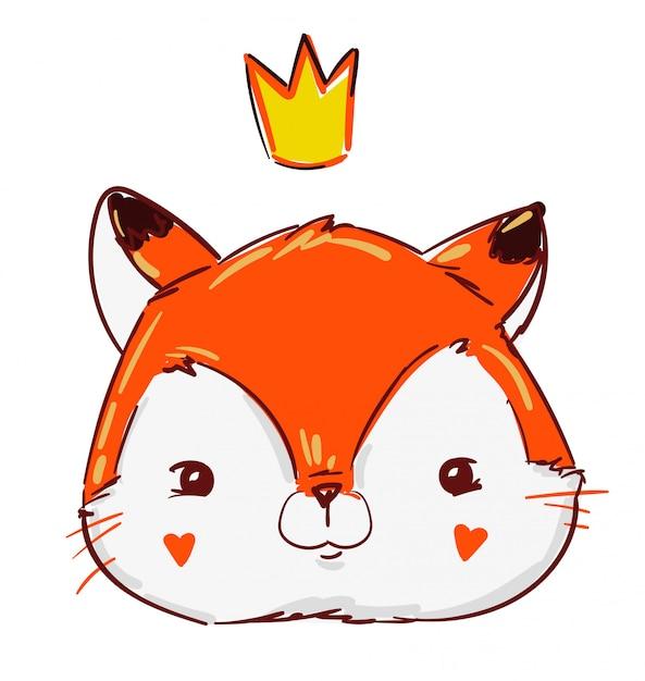 王冠の手描きかわいいプリンセスフォックス。 Premiumベクター