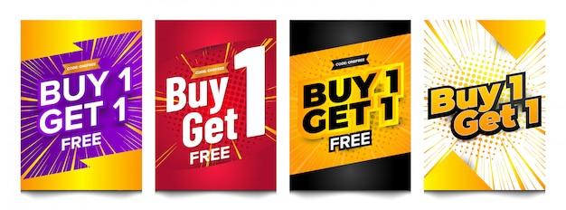 Купите один бесплатный набор вертикальных баннеров. Premium векторы