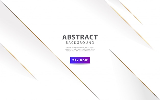 Роскошный белый абстрактный фон с золотой линией Premium векторы