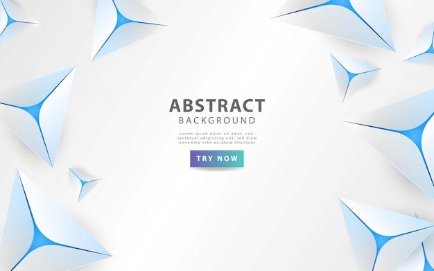 青い線とモダンなグレーの抽象的な三角形の背景 Premiumベクター