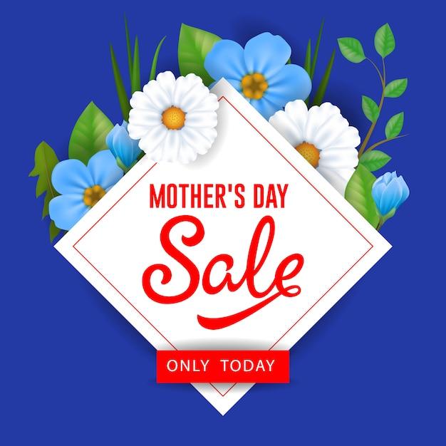 母の日の販売のみ今日の花のレタリング。マザーデイセール広告。 無料ベクター