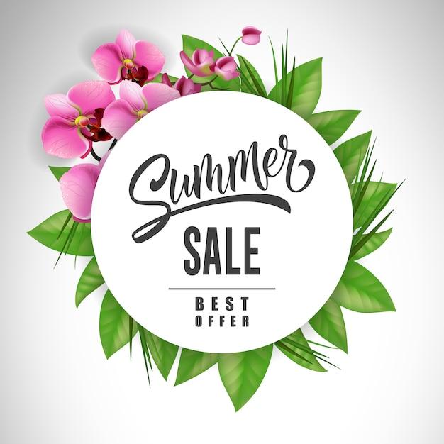蘭と葉で囲まれた夏のセールレタリング。オファーまたは販売広告 無料ベクター