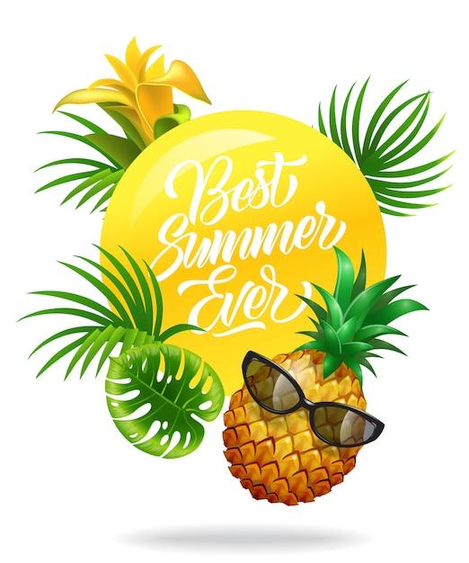 熱帯の葉、花、パイナップル、サングラスが付いた、今までにない夏のカラフルなポスター 無料ベクター