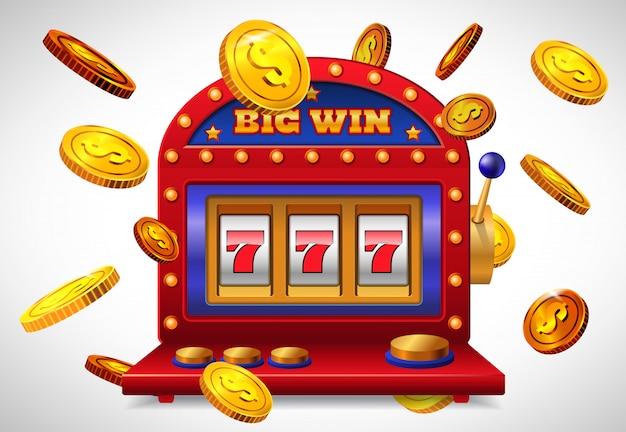 Большая победная надпись, счастливый семь игровых автоматов и летающие золотые монеты. Бесплатные векторы