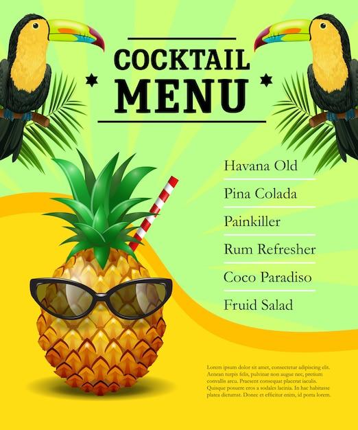 カクテルメニューのポスターテンプレート。パイナップル、サクラ、トウカン、ヤシの葉 無料ベクター