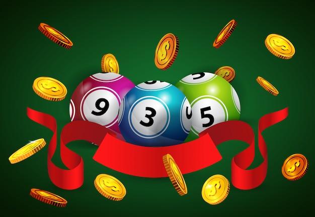 Лотерейные шары, летающие золотые монеты и красная ленточка. реклама для азартных игр Бесплатные векторы
