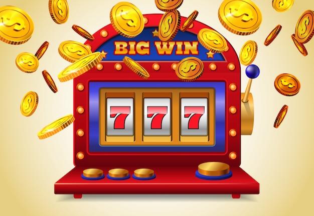 黄色の背景に大きな勝利レタリングと黄金のコインを飛ぶスロットマシン。 無料ベクター