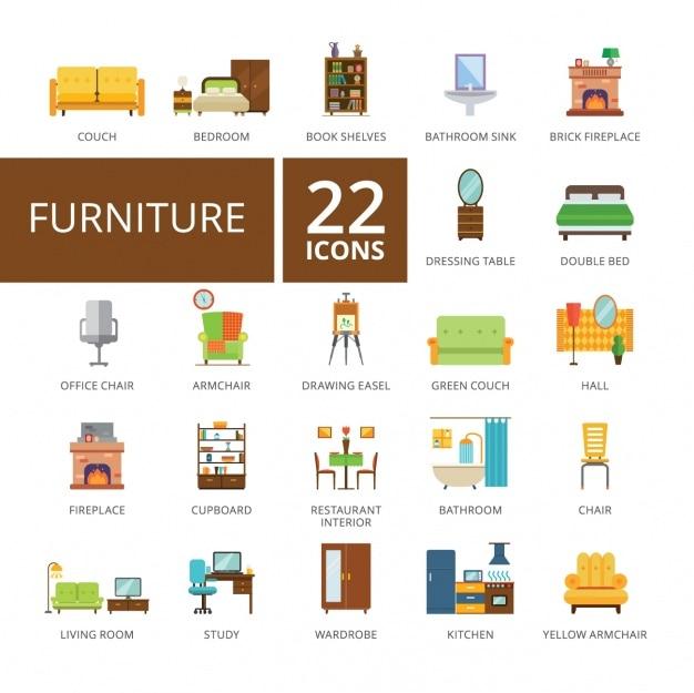 Коллекция мебели иконки Бесплатные векторы
