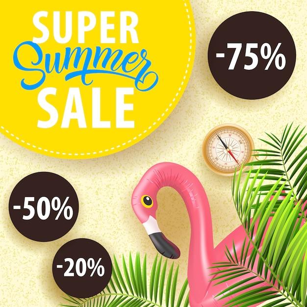 Супер летний купон на продажу с тропическими листьями, плавая пламя фламинго, компас Бесплатные векторы