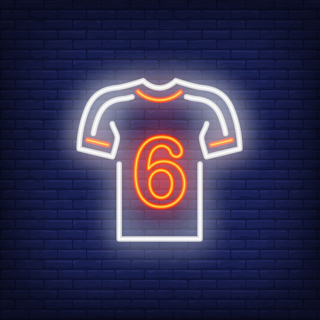 レンガの背景にプレーヤー番号とサッカーキット。ネオンスタイルのイラスト。 無料ベクター