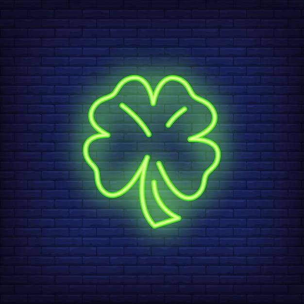 Четыре листьев клевера неоновый элемент знака. фортуна для ночной яркой рекламы Бесплатные векторы