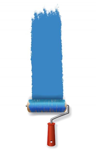 青い塗料のストロークを残しているペイントローラー。バナー、ポスター、チラシ、パンフレット 無料ベクター