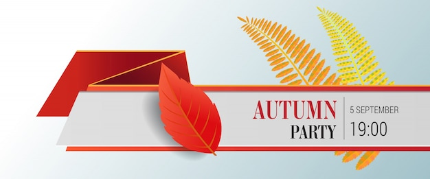 秋のパーティレタリングと明るい葉。秋の提供または販売広告 無料ベクター