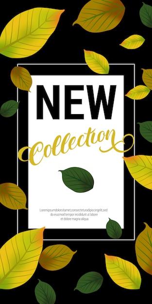 緑色の葉の新しいコレクションレタリング。秋の提供または販売広告 無料ベクター