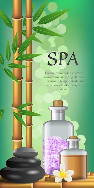 スパレタリング、花、竹と油と塩のボトル。スパサロン広告ポスター 無料ベクター