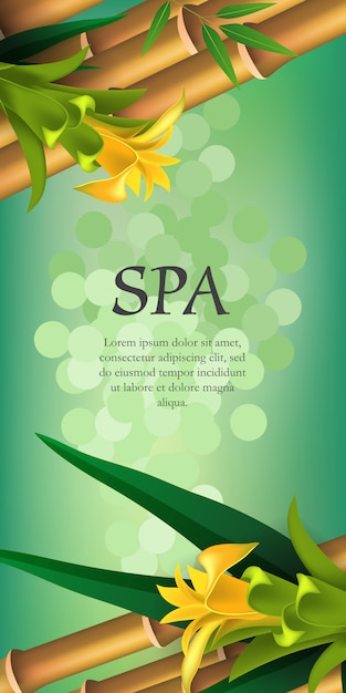 スパレタリング、黄色の花と竹。スパサロン広告ポスター 無料ベクター