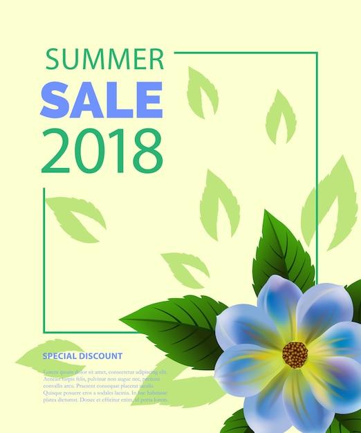 青い花のフレームの夏のセールレタリング。夏の提供または販売広告 無料ベクター