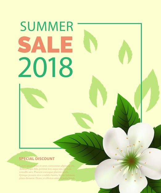白い花のフレームの夏のセールレタリング。夏の提供または販売広告 無料ベクター