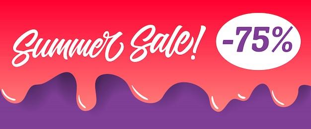 Летняя продажа надписи на красной капающей краске. летняя реклама или продажа рекламы Бесплатные векторы