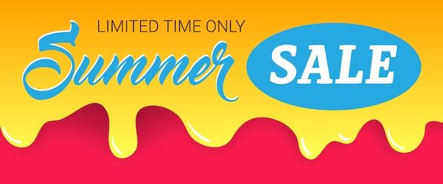 Летняя распродажа, ограниченное время только надписи на капающей краске. Бесплатные векторы