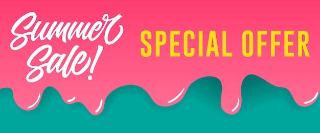 Летняя распродажа, специальная надпись на капающей краске. летняя реклама или продажа рекламы Бесплатные векторы