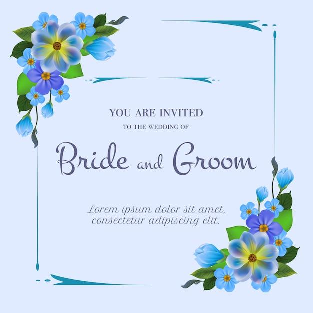 ライトブルーの背景に青い花と結婚式の招待状。 無料ベクター