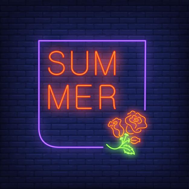 バラとフレームの夏のネオンのテキスト。季節限定商品または販売広告 無料ベクター
