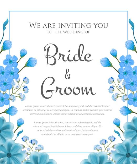 青いフレームと花の結婚式招待状 無料ベクター