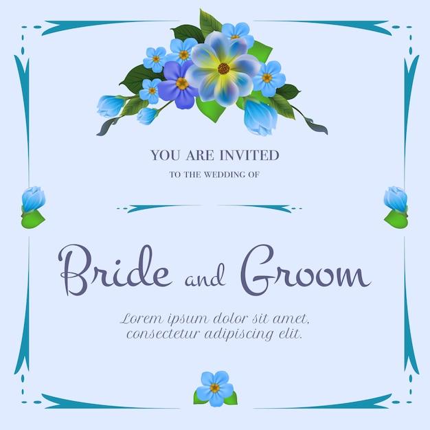 淡い青色の背景に青い花の束と結婚式の招待状。 無料ベクター