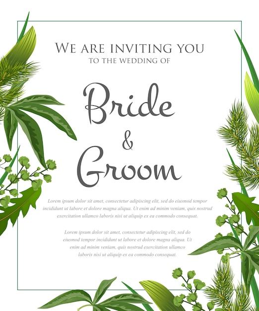 緑の葉と毛皮の枝による結婚式招待状。 無料ベクター