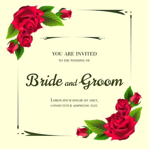黄色の背景に赤いバラの結婚式の招待状。 無料ベクター