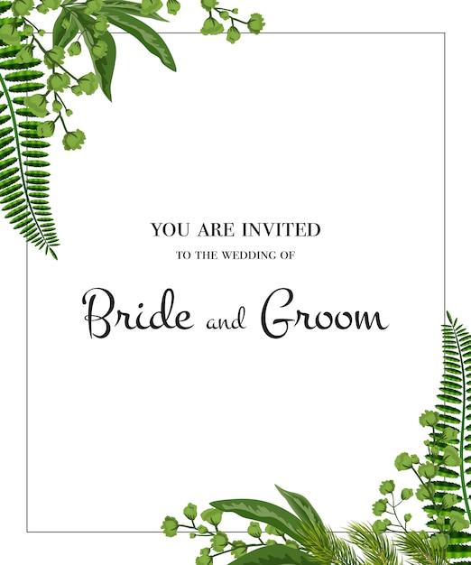 結婚式招待状。白い背景に緑のフレーム。パーティー、イベント、お祝い。 無料ベクター