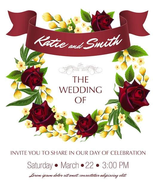 結婚式はバラ、黄色の花輪と栗のリボンと日付テンプレートを保存します。 無料ベクター