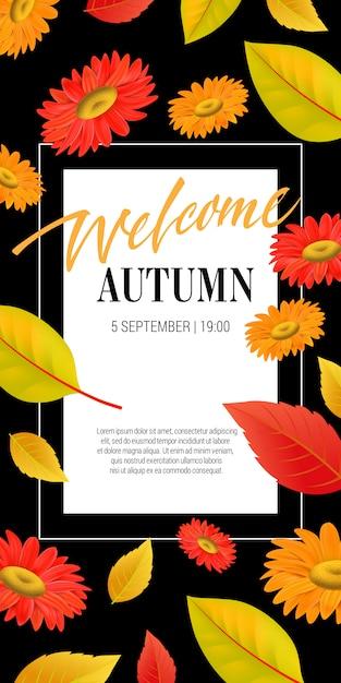 葉と花の秋のレタリングを歓迎します。秋の提供または販売広告 無料ベクター