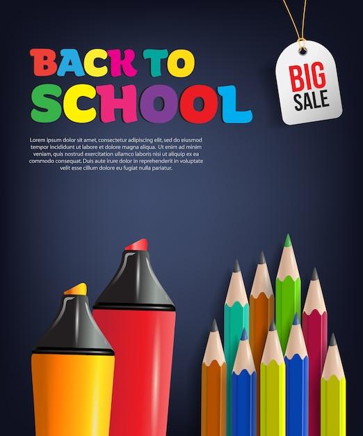 カラフルな鉛筆で学校のセールチラシに戻って 無料ベクター