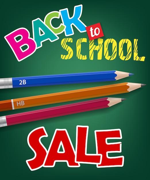学校、セールレター、グラファイトの鉛筆に戻って 無料ベクター